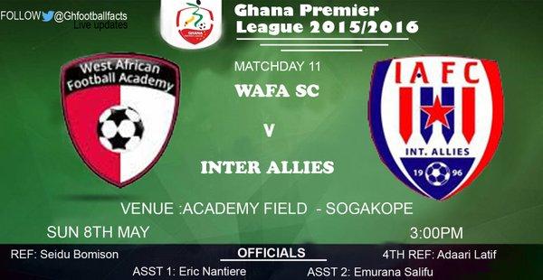 Re-Live the Ghana Premier League LIVE play-by-play: WAFA 0-0 Inter Allies