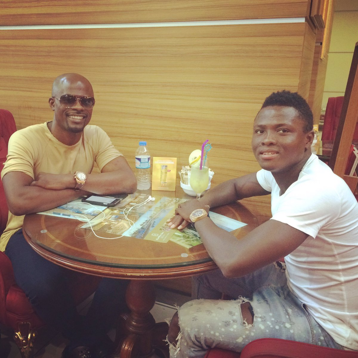 Ghana defender Samuel Inkoom meets up with old pal George Boateng