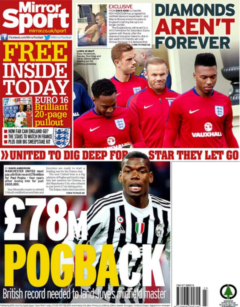Today's newspaper gossip: United chase Pogba for £78m, Juve set to sign Pjanic