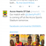 Liberty Professionals shift Hearts clash to Accra Sports Stadium