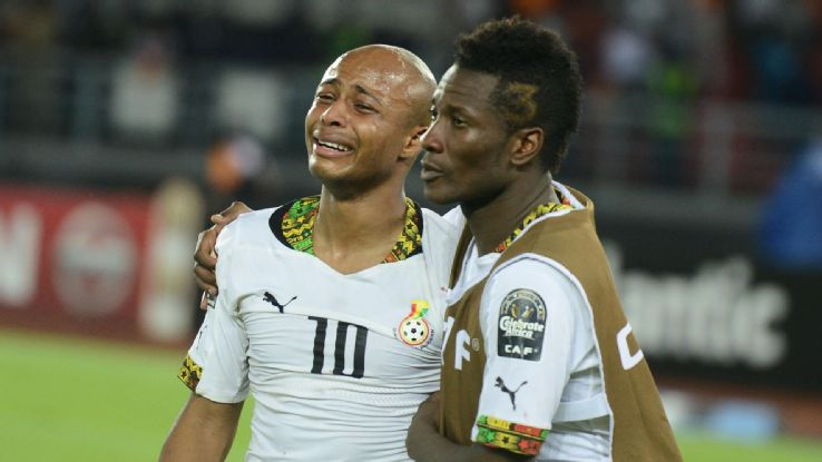 Image result for asamoah gyan and andre ayew