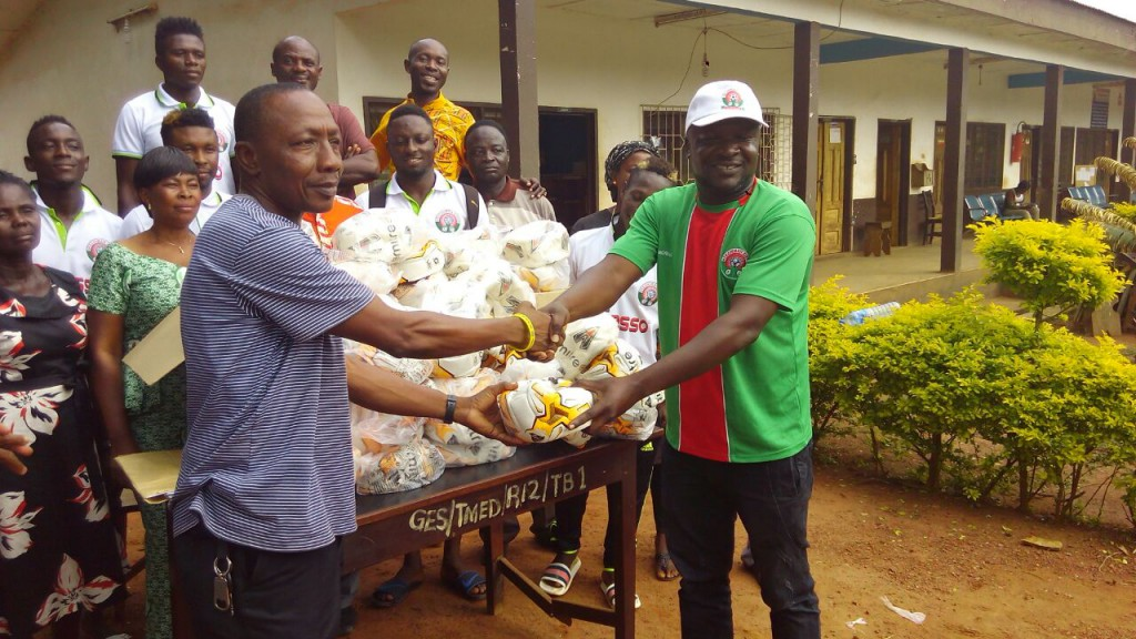 Premier League side Techiman City FC donate footballs to 65 schools