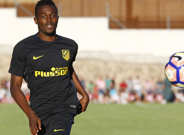 Ghana midfielder Bernard Mensah training with Atletico B