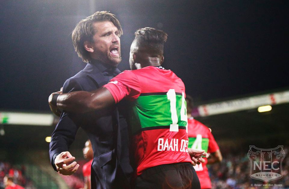 Reagy Ofosu hugs manager
