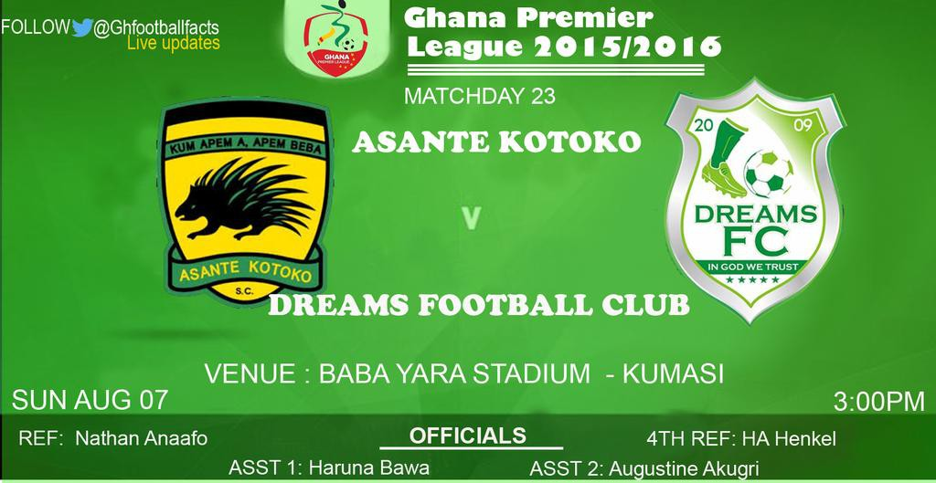 Re-live the Ghana Premier League LIVE play-by-play: Asante Kotoko 1-0 Dreams FC