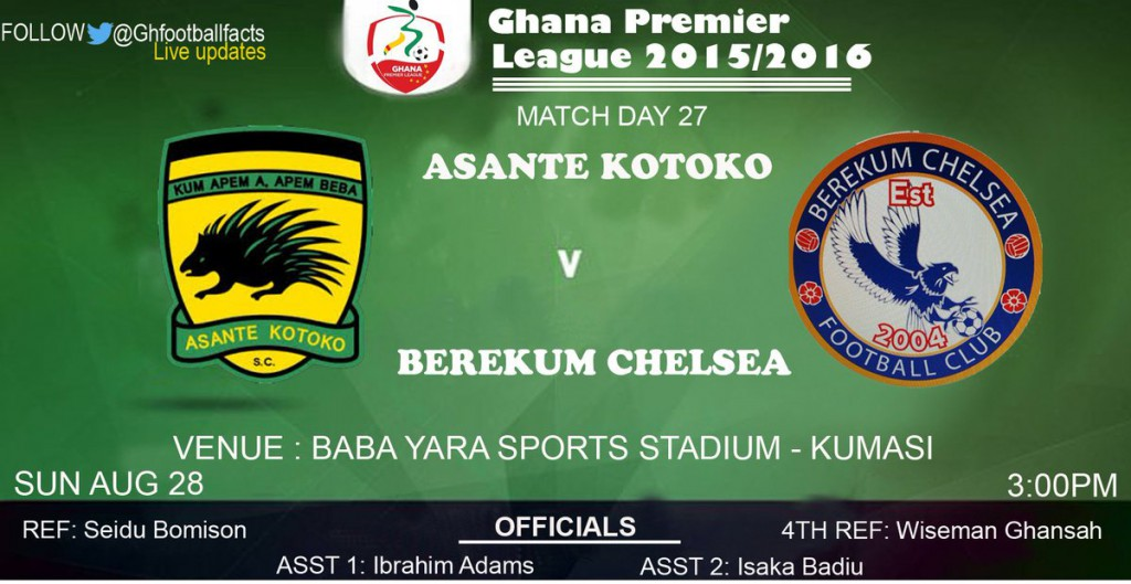 Ghana Premier League LIVE play-by-play: Asante Kotoko 0-0 Berekum Chelsea