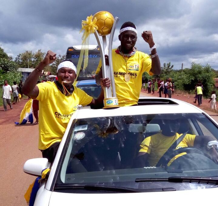 PHOTOS: Bechem United get rapturous welcome in Bechem after historic MTN FA Cup success