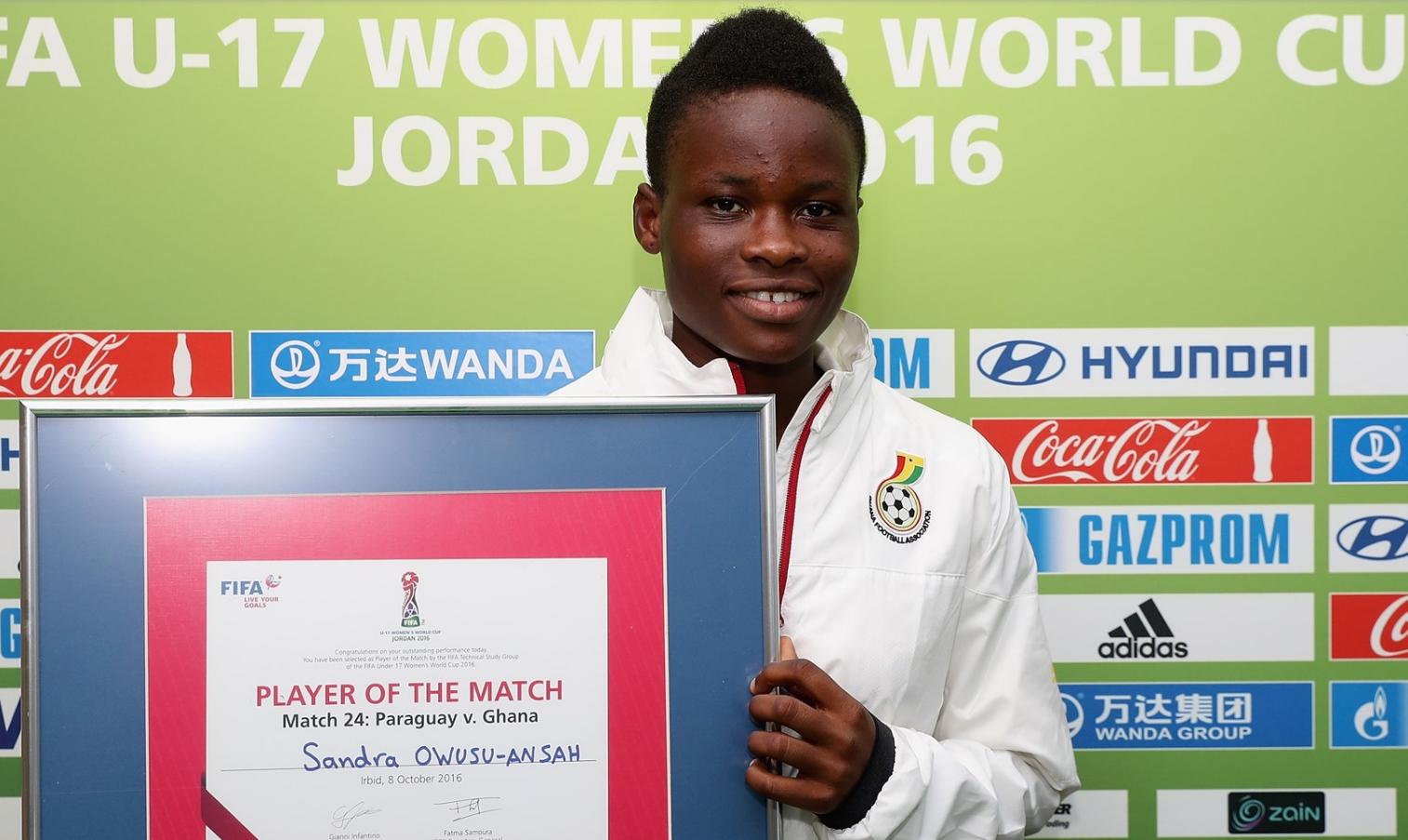 Captain fantastic Sandra Owusu-Ansah wins Player of the Match award