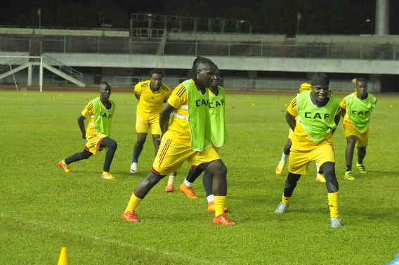Uganda training in Lome last night.