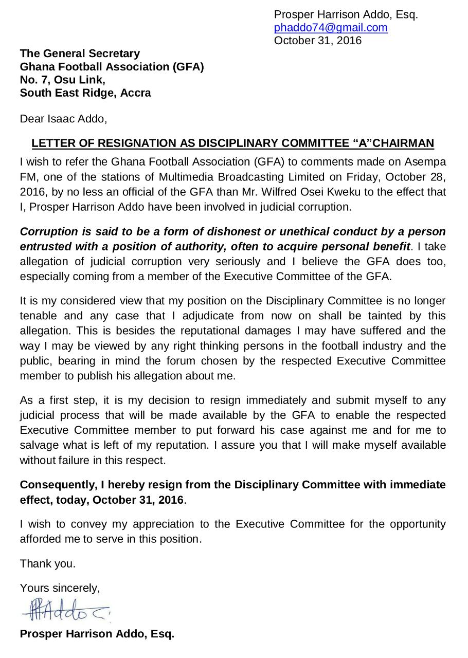 Confirmed Prosper Harrison Addo Reigns As Disciplinary Committee