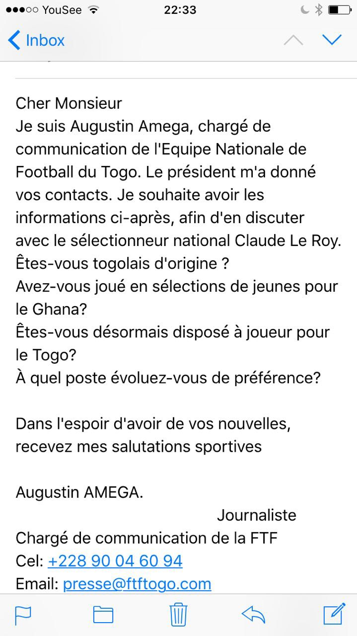 The letter from the Togolese Football Association
