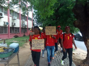 PHOTOS: Ghana's Black Queens protest over unpaid bonuses in Accra
