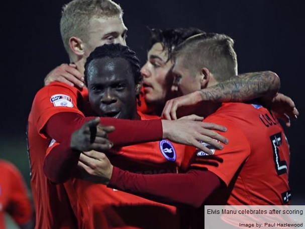Ghanaian attacker Elvis Manu on target for Brighton U23 in victory over Wimbledon