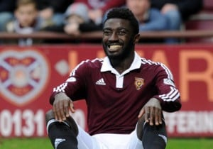 Ghanaian midfielder Prince Buaben suffers calf injury in Hearts draw at home to Partick Thistle