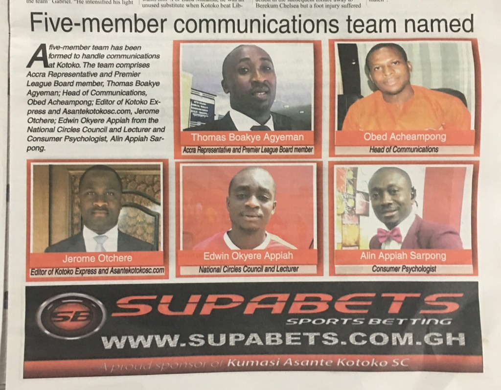 Asante Kotoko unveil five-member communication team