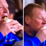 Video: Sutton Utd goalkeeper steals limelight from Ghanaian duo after eating gigantic pie during Arsenal game