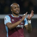 West Ham's Andre Ayew congratulates Monaco's Benjamin Mendy after heroics