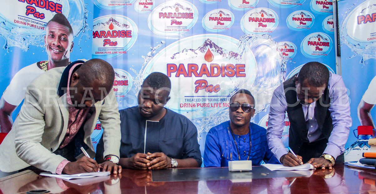 Asamoah Gyan's water bottling company Paradise Pac sign sponsorship deal with Dreams FC