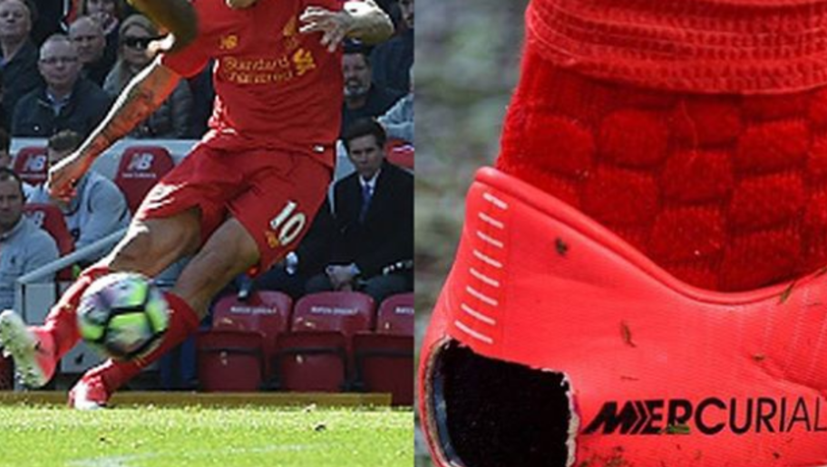 PHOTO: Fashion Trend Alert! Liverpool Star Cuts Big Hole in His Boots for Reasons Unknown