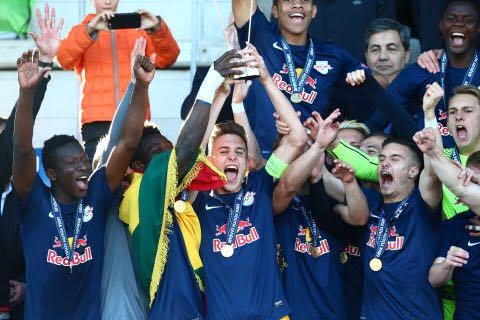 PHOTOS: Ghanaian sensation Gideon Mensah wins UEFA Youth League with Red Bull Salzburg