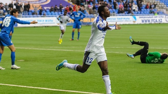 Ghana forward Patrick Twumasi scores for Astana in 3-0 away victory over Kaiser Kyzylordia