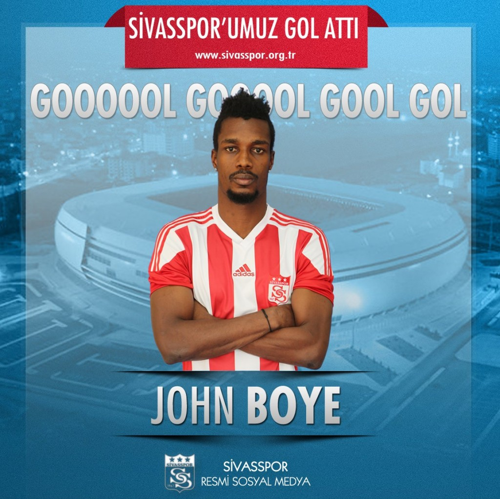 Video: Sivasspor defender John Boye scores in draw with Akaminko's Eskisehirspor in Turkey