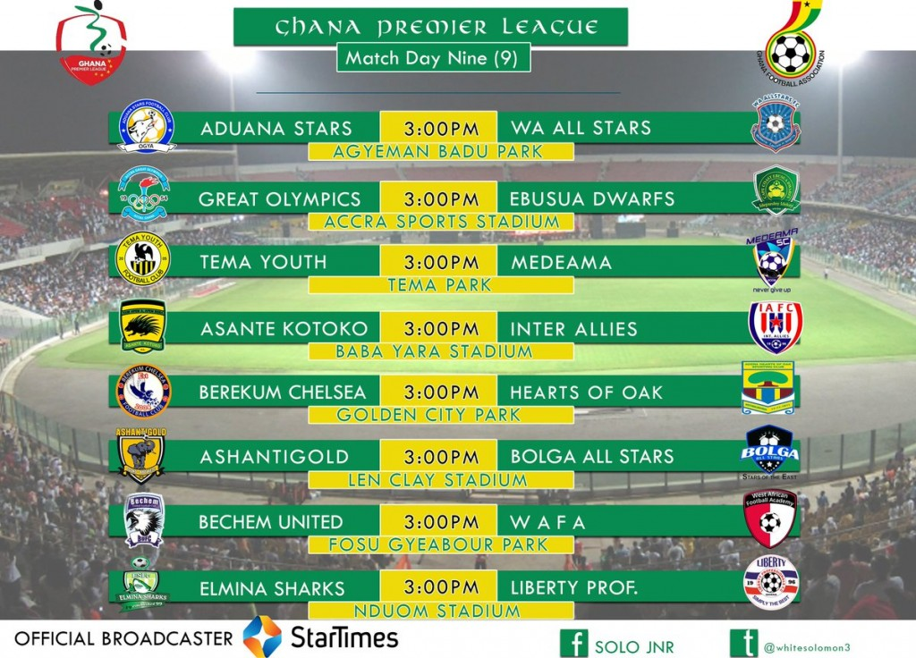 LIVE: 2016/17 Ghana Premier League Week 9 Coverage