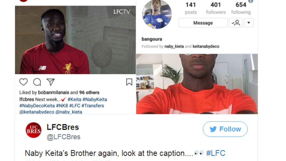 more photos 8552c 78c5c PHOTO: Naby Keita's Brother Gets Liverpool Fans Excited ...