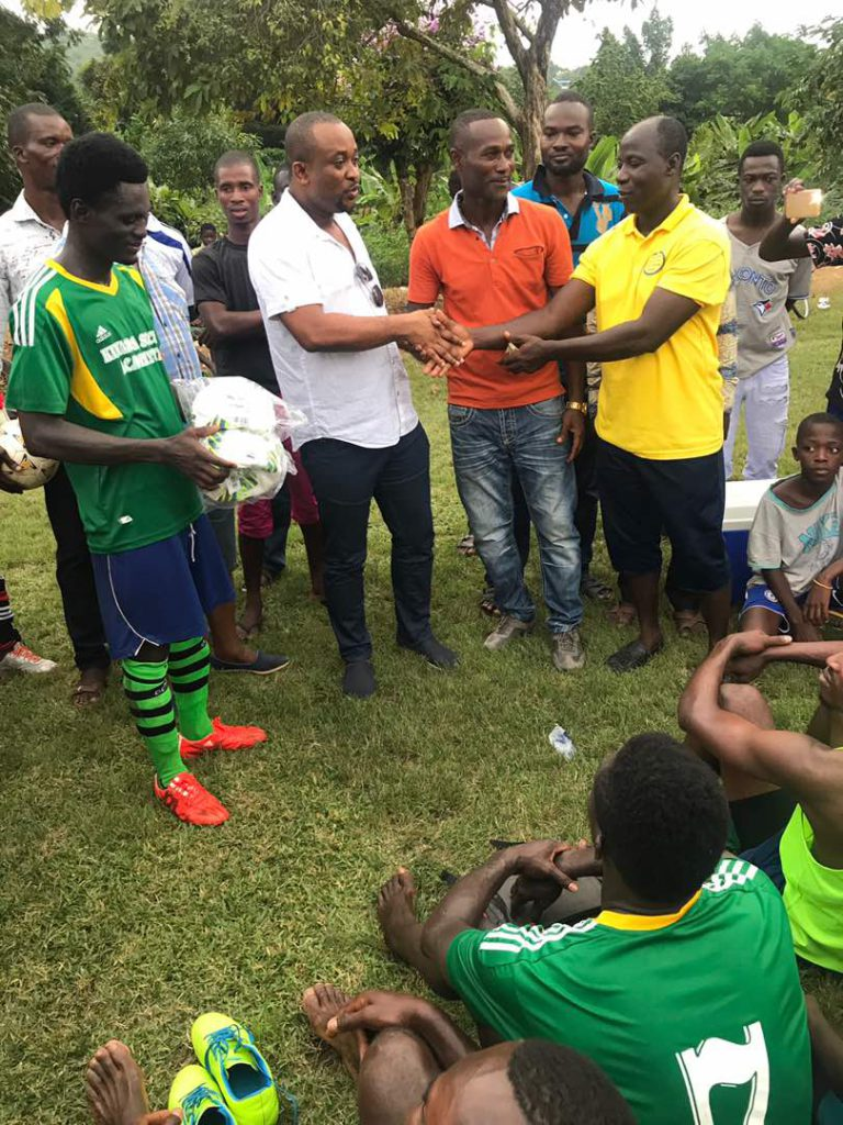 Deputy Sports Minister Pius Hadzide watches Division 2 game in Somanya