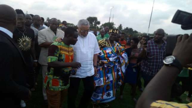 PHOTOS: Ex- Ghana President Jerry Rawlings commissions Asamoah Gyan's ultra-modern astroturf