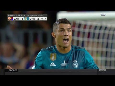 cristiano ronaldo red card barcelona vs real madrid 1 2 13 august 2017