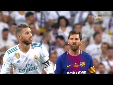 Sergio Ramos annoying Lionel Messi - Super Cup 2017