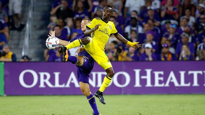 Ghana defender Harrison Afful sees RED in Columbus Crew draw at Orlando City in MLS
