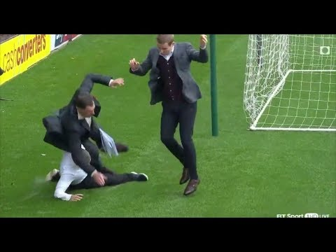 Chris Sutton wiped out by a slide tackle !