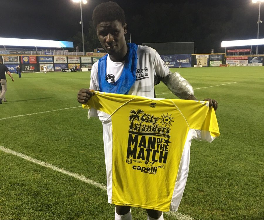 Brace hero Ropapa Mensah named Man of the Match in Harrisburg City Islanders win