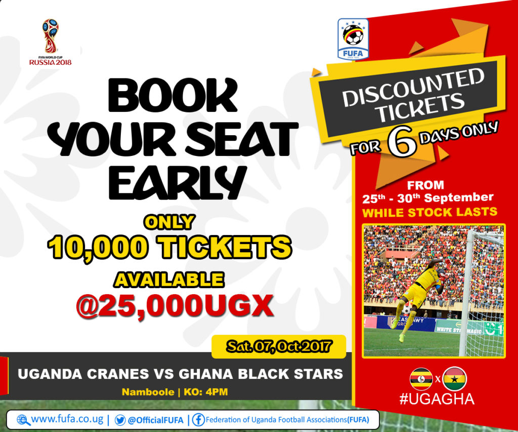 Uganda slash ticket prices to boost fans attendance to intimidate Ghana in World Cup qualifier