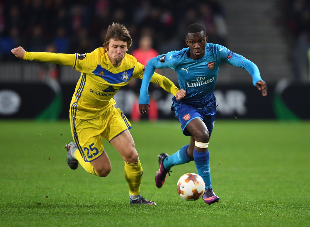 Ghanaian youngster Eddie Nketiah makes competitive Arsenal debut in Europa League win at Bate Borisov