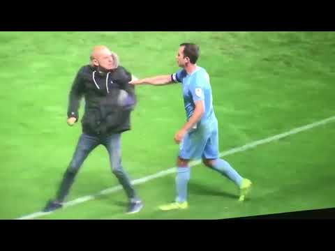 Coventry fan runs on pitch to tell off his own players