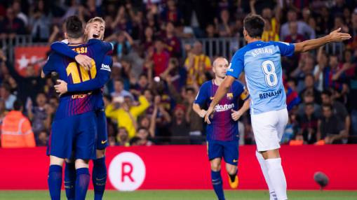 Barcelona win after controversial goal while Valencia thrash Sevilla