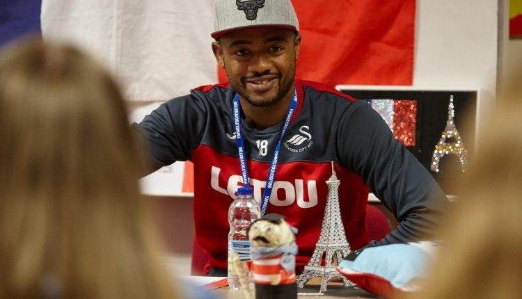 Swansea City striker Jordan Ayew turns French tutor in South Wales