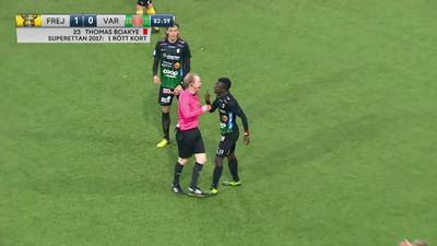 VIDEO: Ghanaian Striker Thomas Boakye sees red in Varberg's 1-0 defeat at Frej