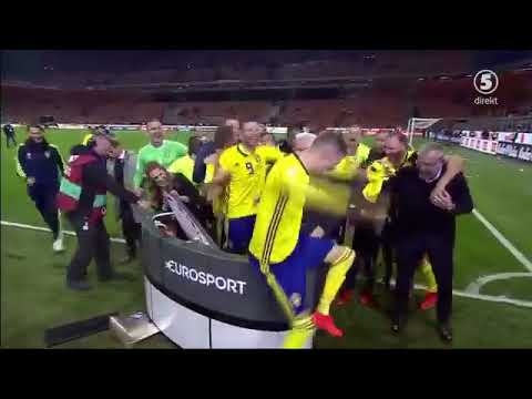 Sweden players hilarious celebration after qualifying for World Cup