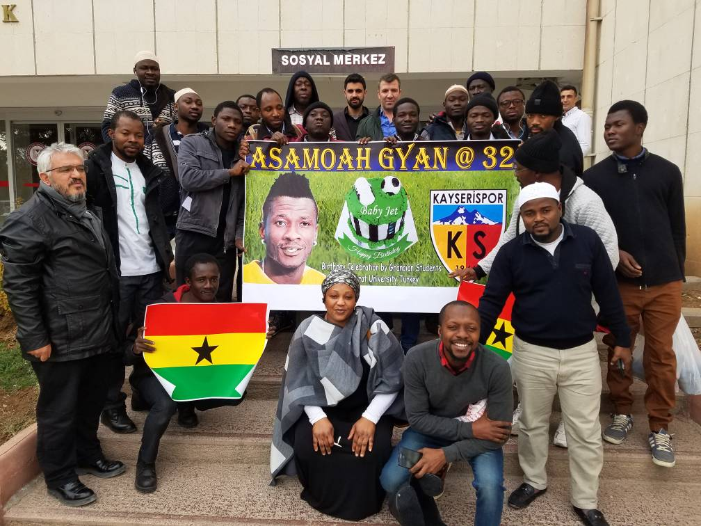 PHOTOS: Legendary Black Stars skipper Asamoah Gyan celebrated by Ghanaian students in Turkey on 32nd birthday