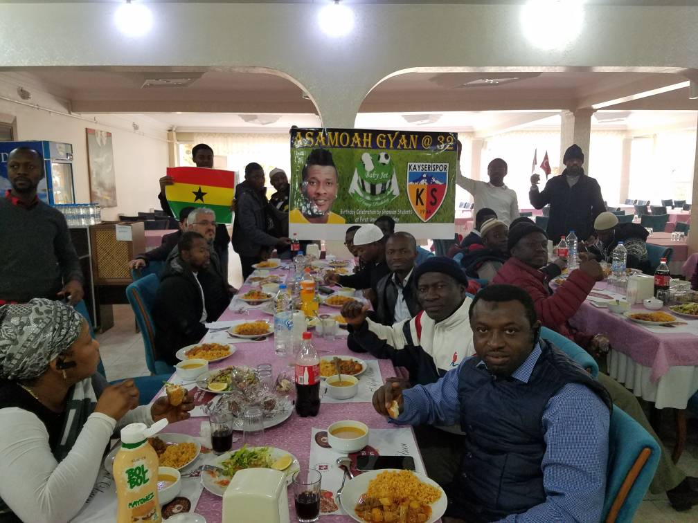 Legendary Black Stars skipper Asamoah Gyan celebrated by Ghanaian students in Turkey on 32nd birthday