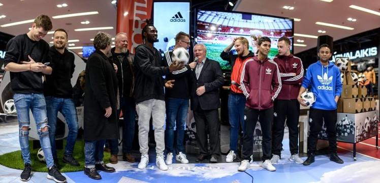 Ghanaian striker Sheriff Deo Mohammed launches new Adidas World Cup ball in Lithuania