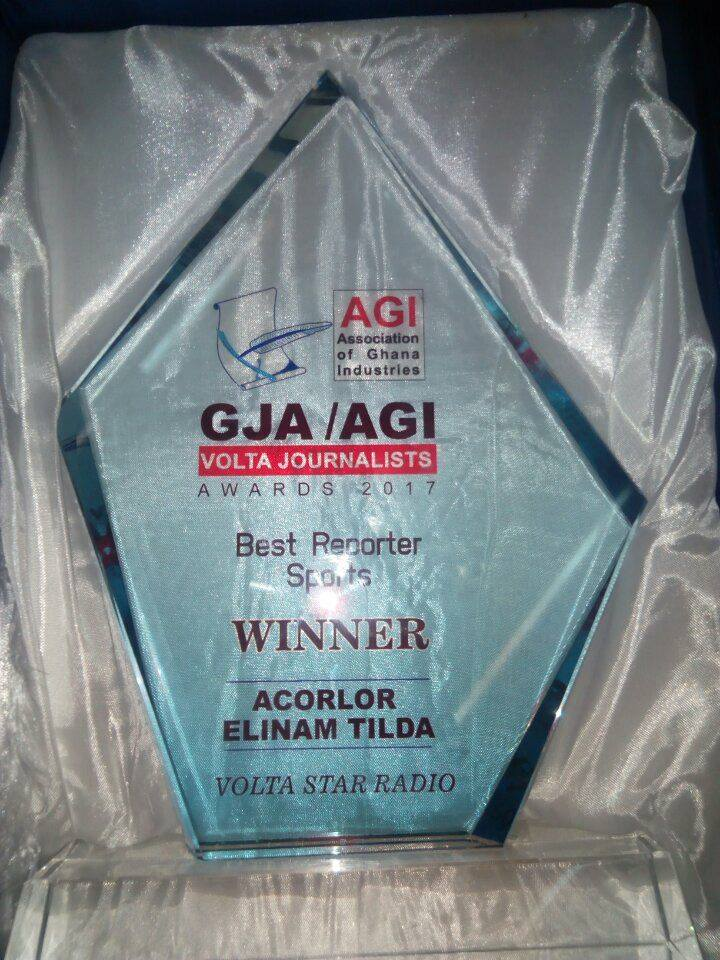 GBC Volta Star Radio's Tilda Elinam Acorlor wins 2017 Best Sports Journalist Award in Volta Region
