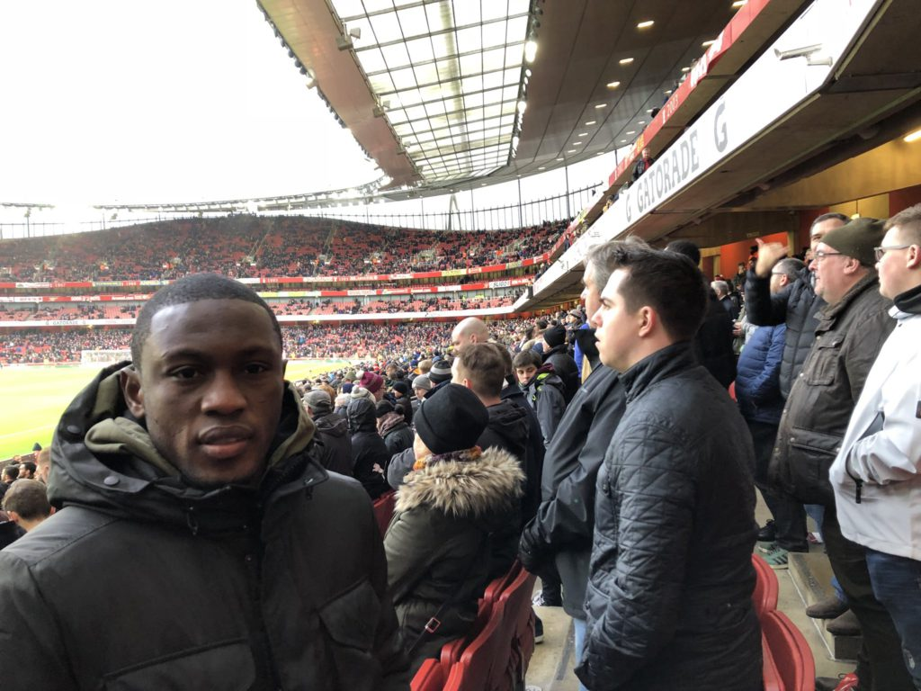 Ghana striker Majeed Waris watches Christian Atsu in Newcastle clash with Arsenal