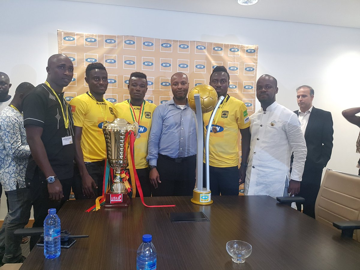 VIDEO: Asante Kotoko present FA Cup to title sponsors MTN