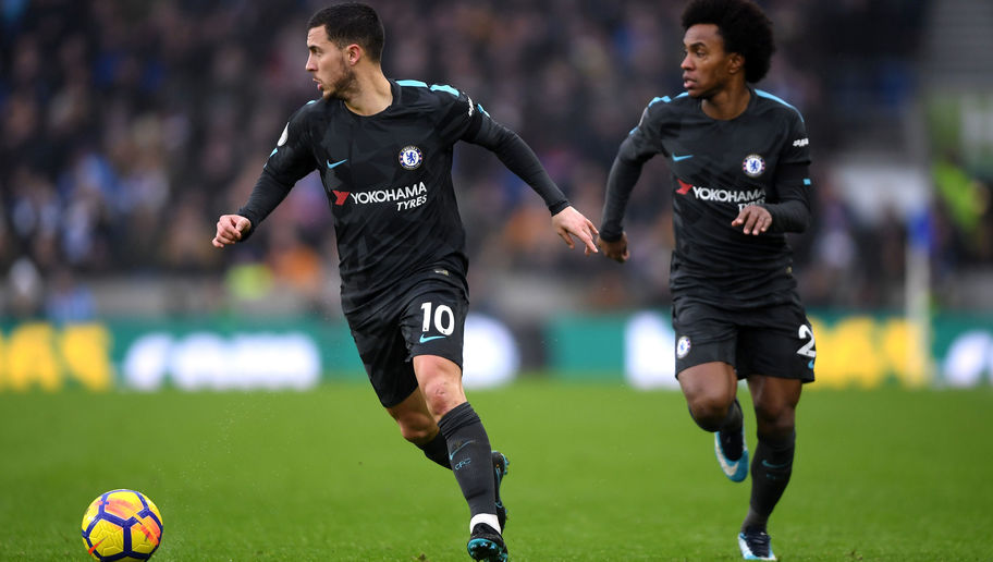 VIDEO: You're Doing it Wrong! Hazard & Willian Troll Chelsea Boss Antonio Conte After Brighton Win