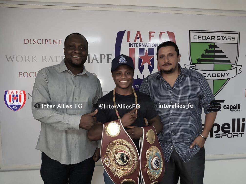 Boxing prospect Isaac Dogboe visits Inter Allies with interim Super Bantamweight title
